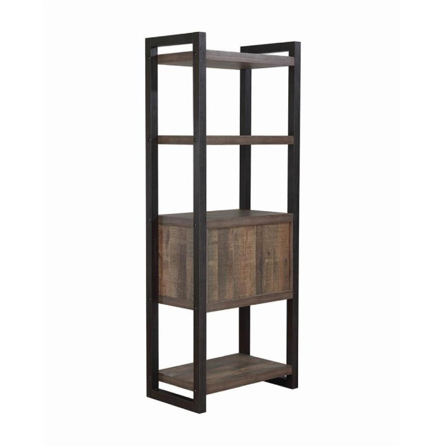 Natural Rustic Coffee Bookcase w/ Cabinet - image-4