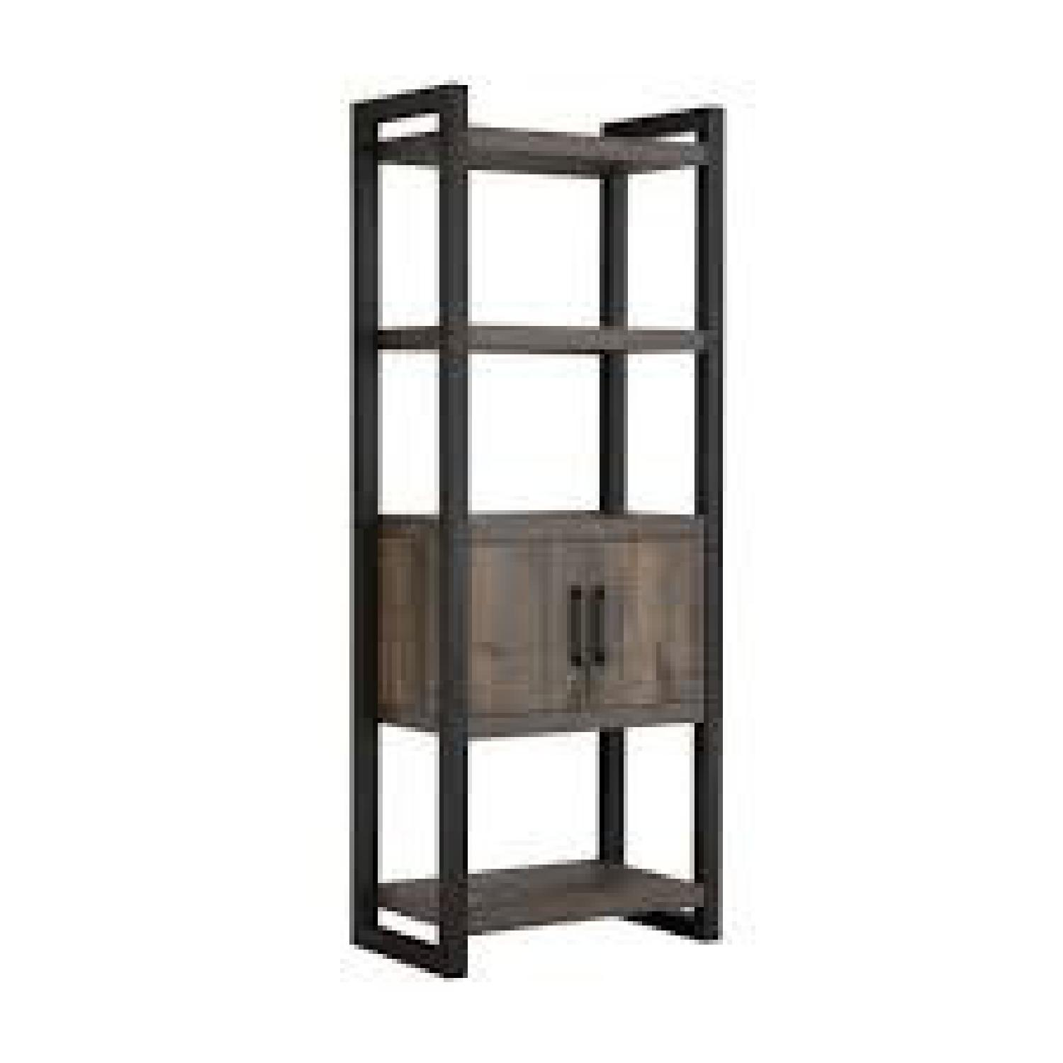 Natural Rustic Coffee Bookcase w/ Cabinet - image-0