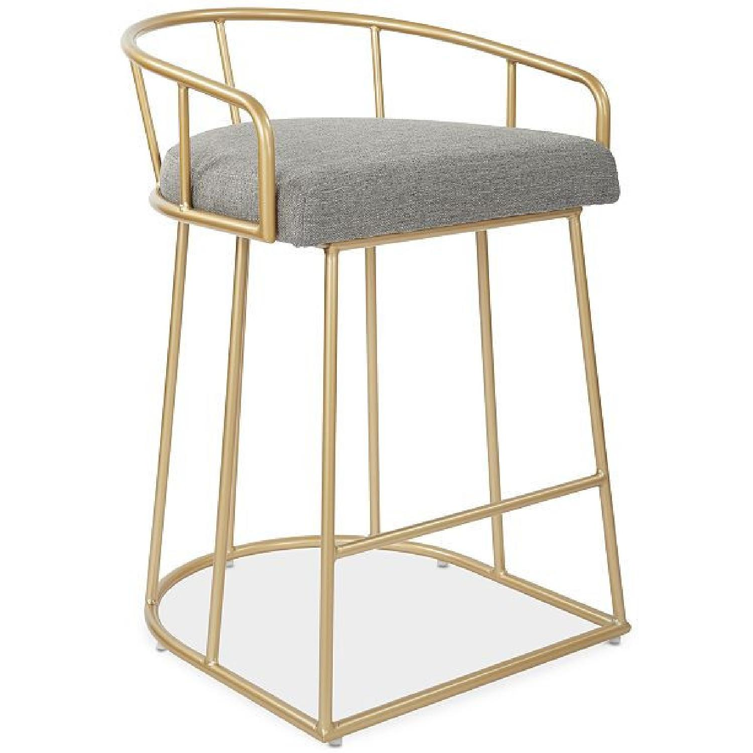 Macy's Gold Tone Upholstered Counter Stools - image-0