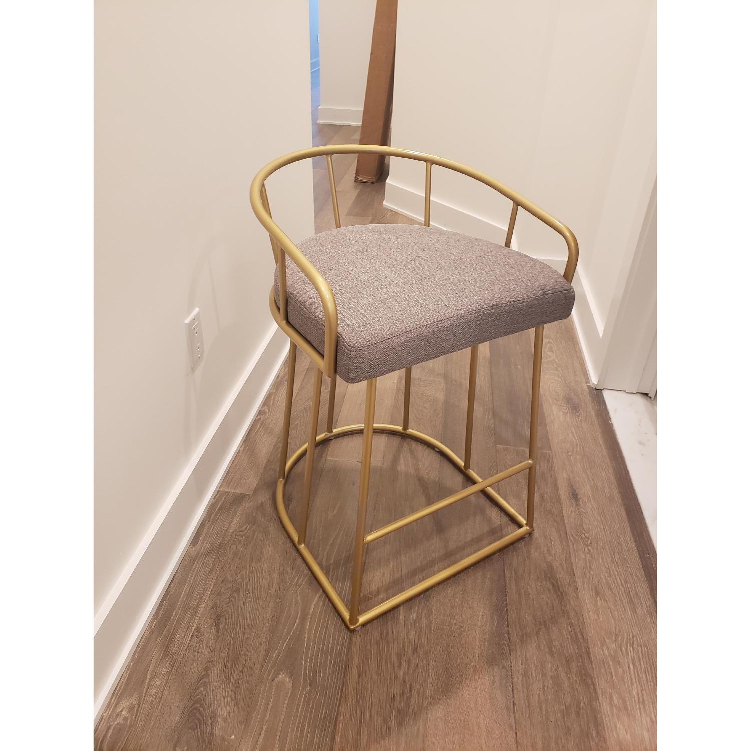 Macy's Gold Tone Upholstered Counter Stools - image-1