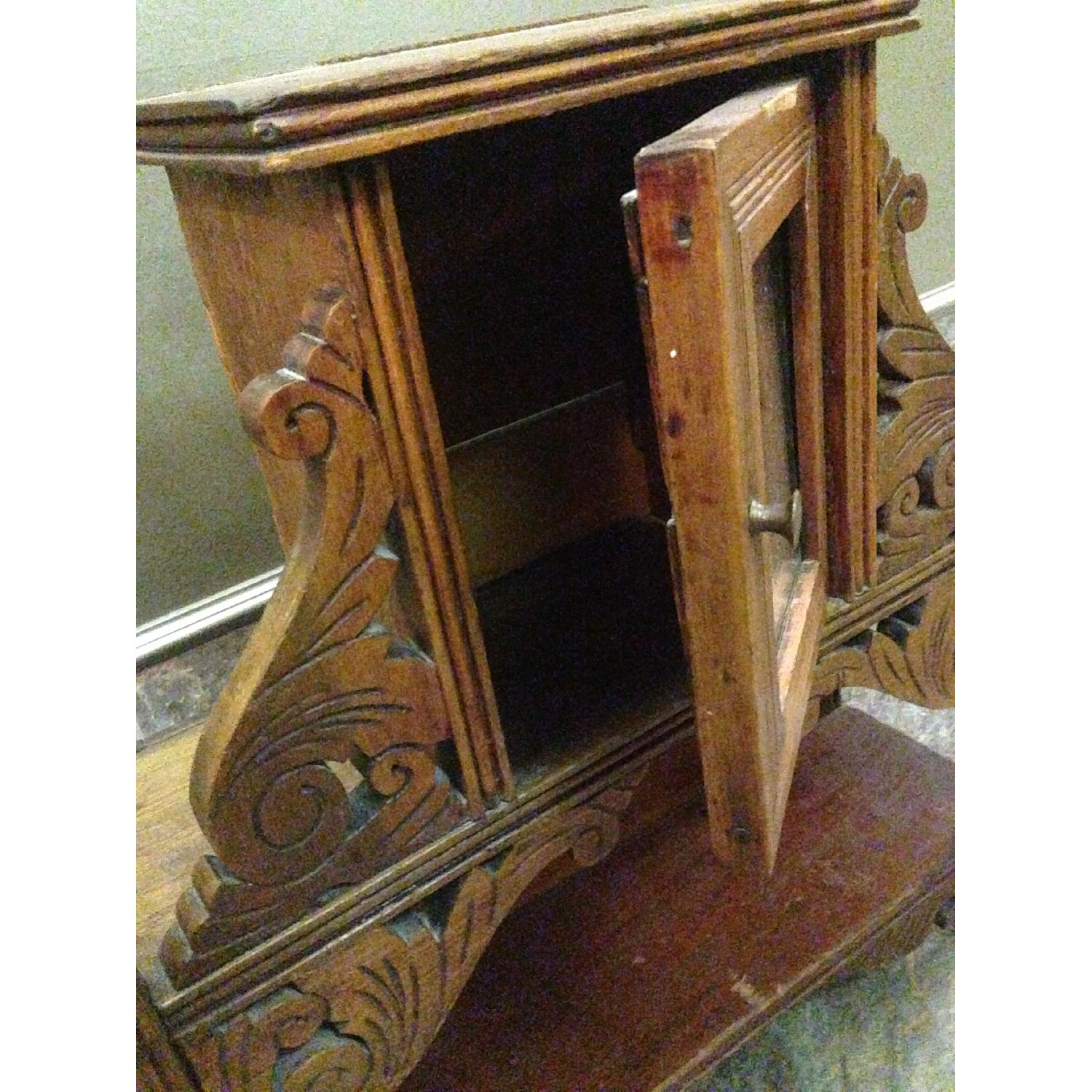 Antique Hand Crafted Wall Cabinet/Display Shelf w/ Mirror - image-6