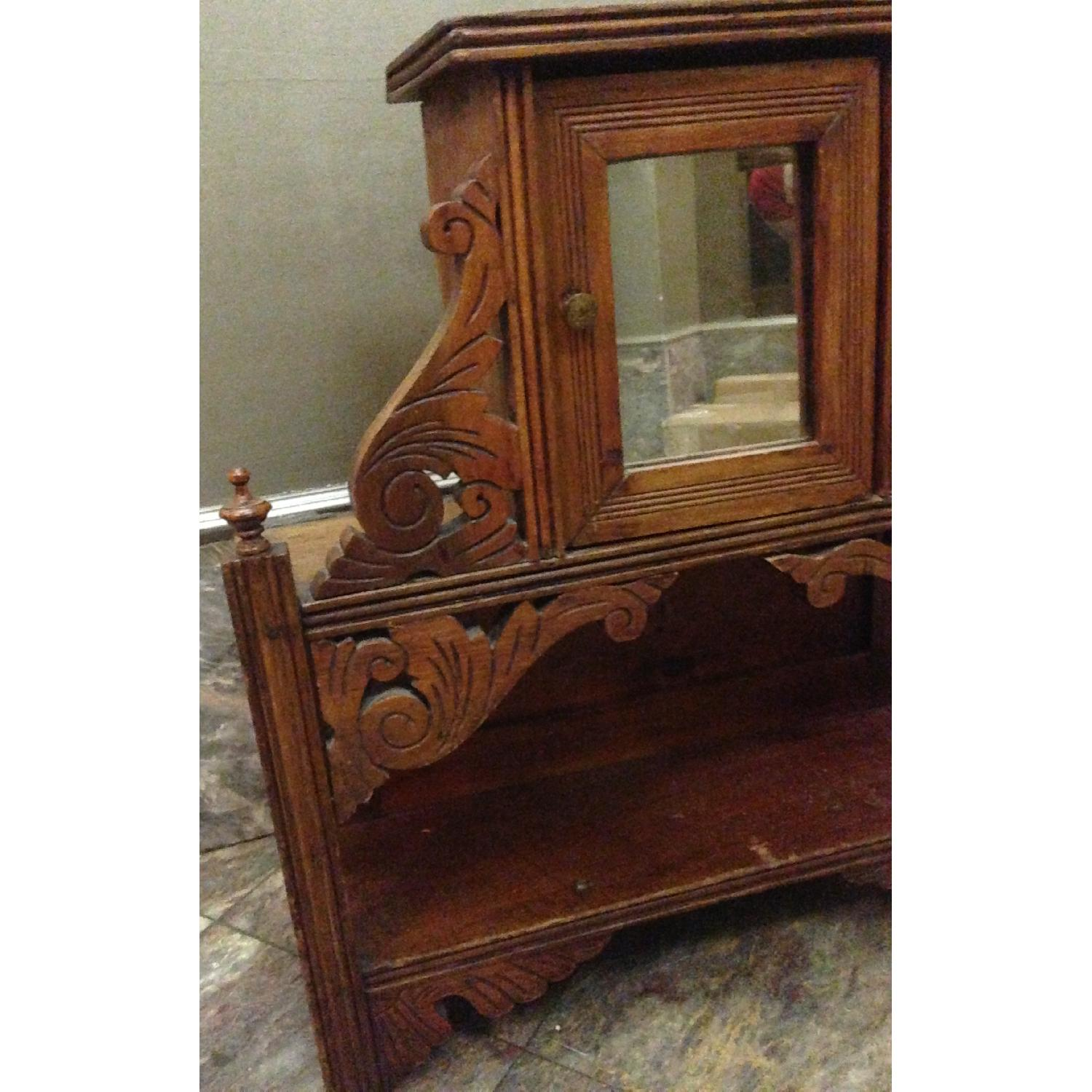 Antique Hand Crafted Wall Cabinet/Display Shelf w/ Mirror - image-7