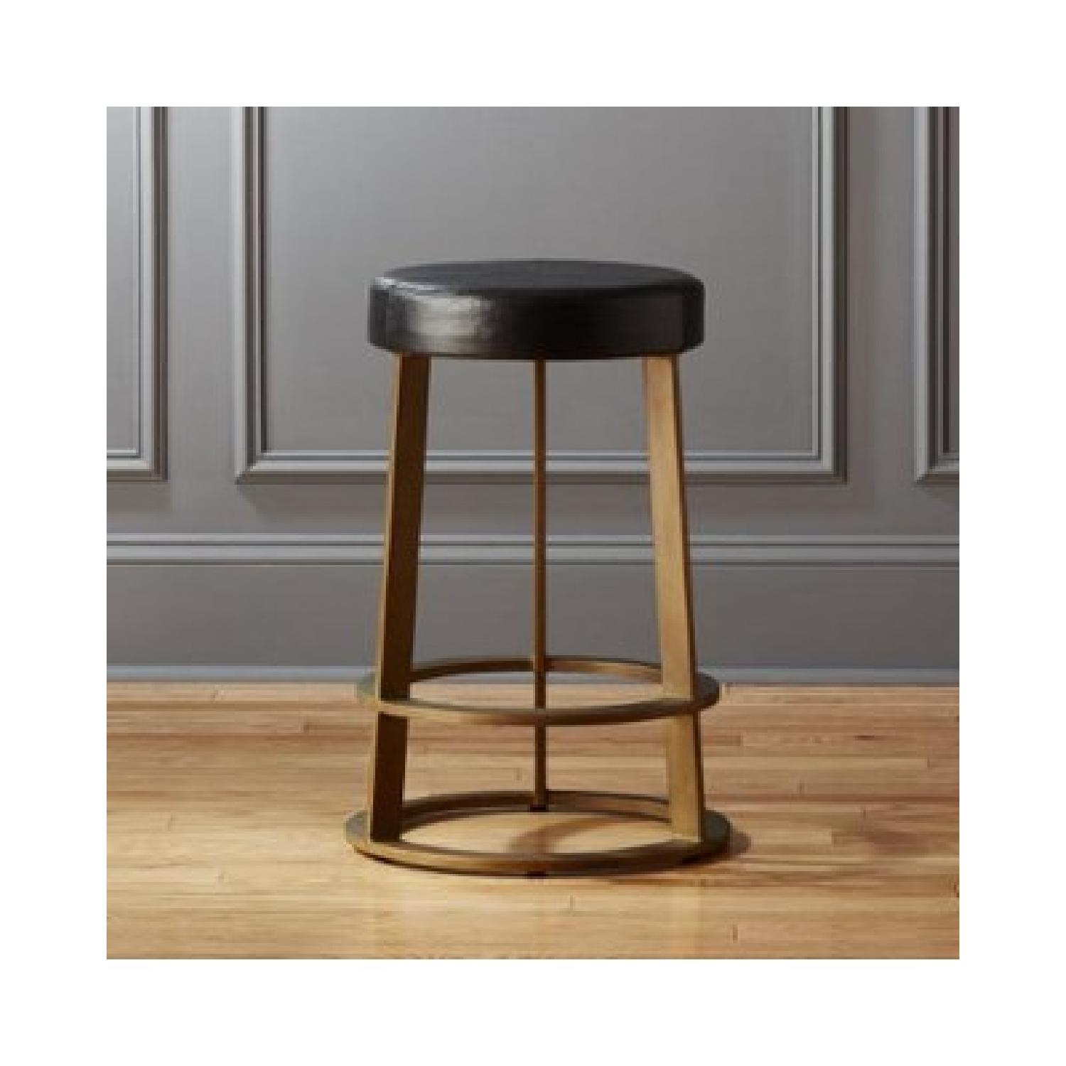 CB2 Leather Reverb Stools - image-1