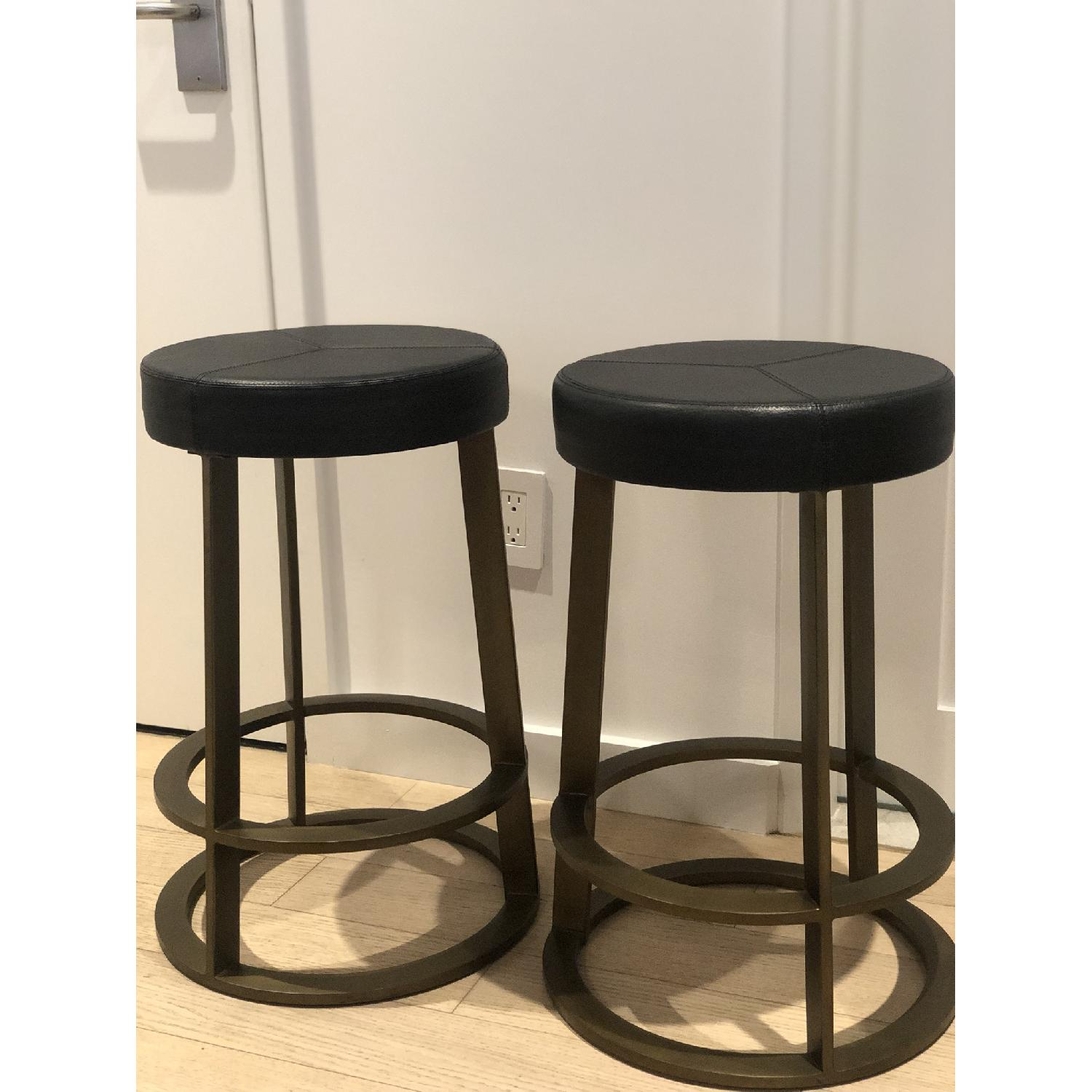 CB2 Leather Reverb Stools - image-5