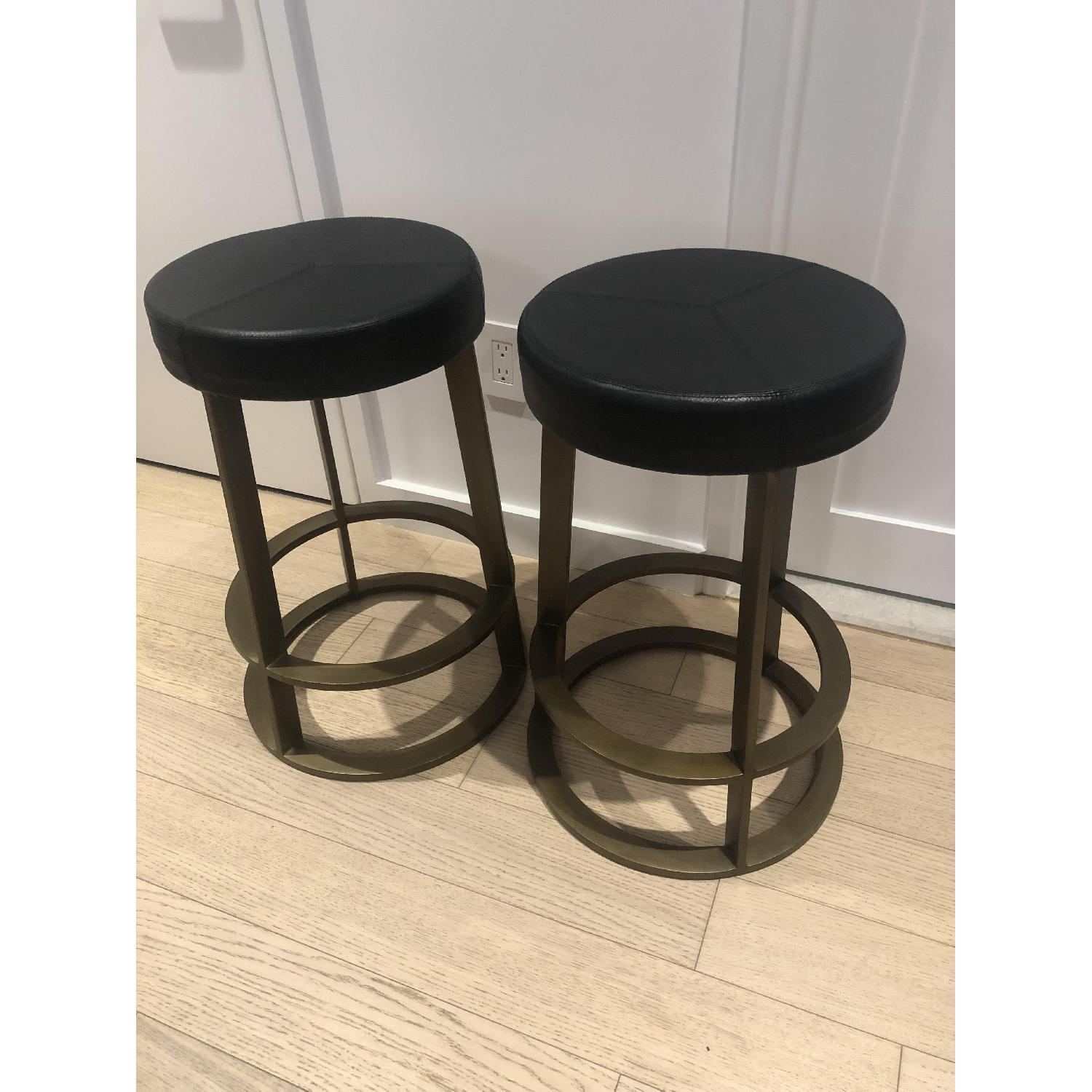 CB2 Leather Reverb Stools - image-6