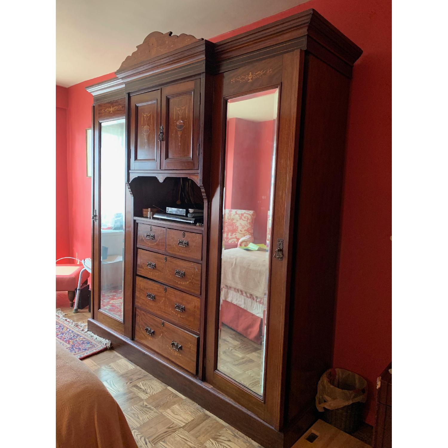 Antique Country English Armoire - image-2