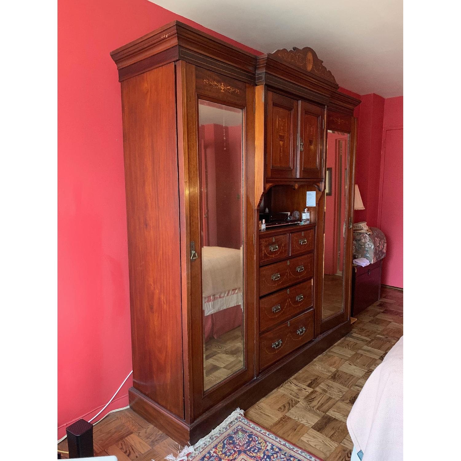 Antique Country English Armoire - image-7