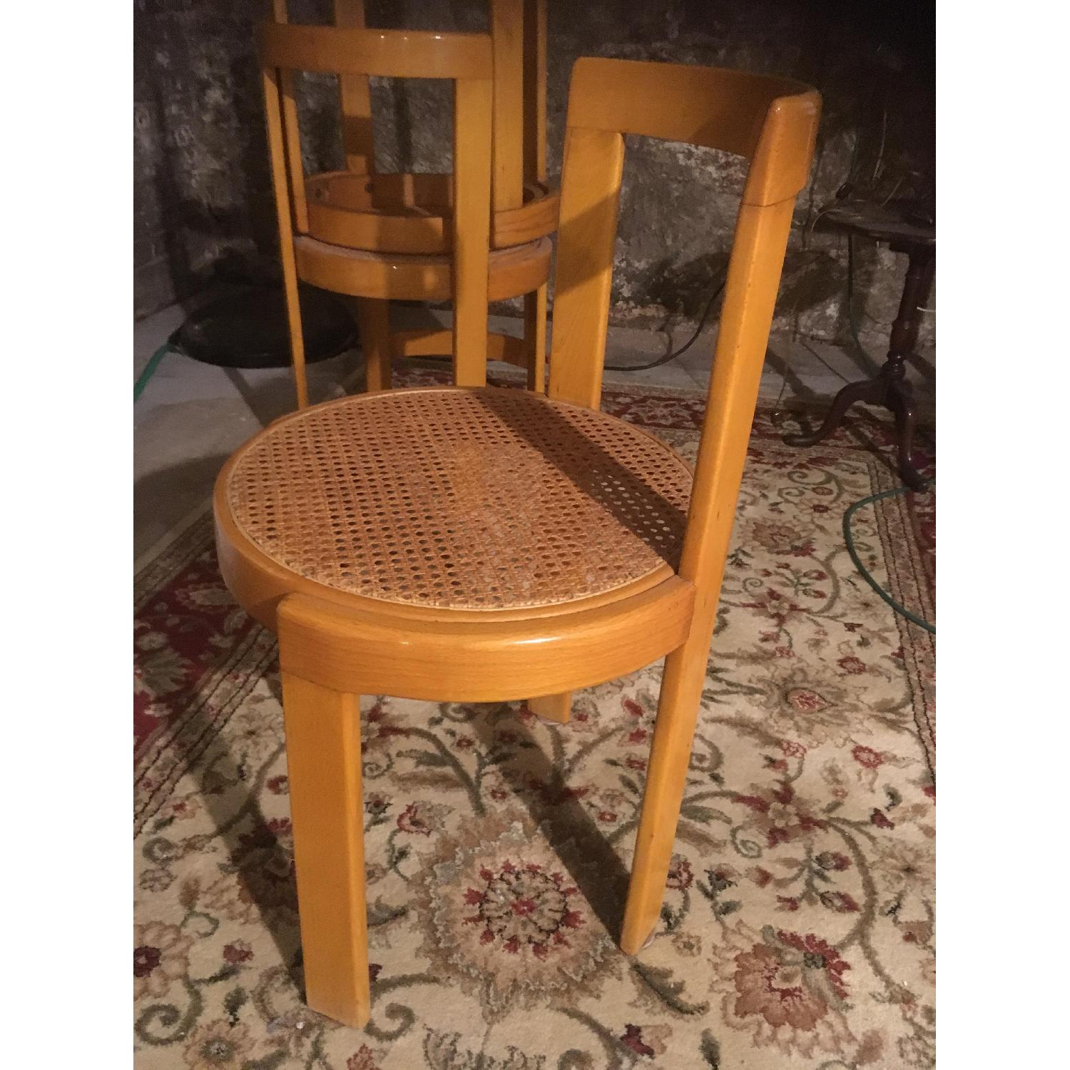 Thonet Italian Yellow Bent Wood Cane Seat Dining Chairs - image-1