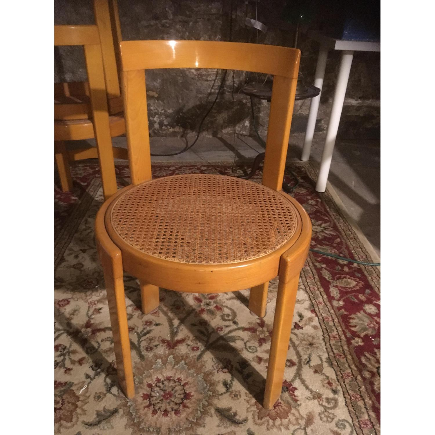 Thonet Italian Yellow Bent Wood Cane Seat Dining Chairs - image-3