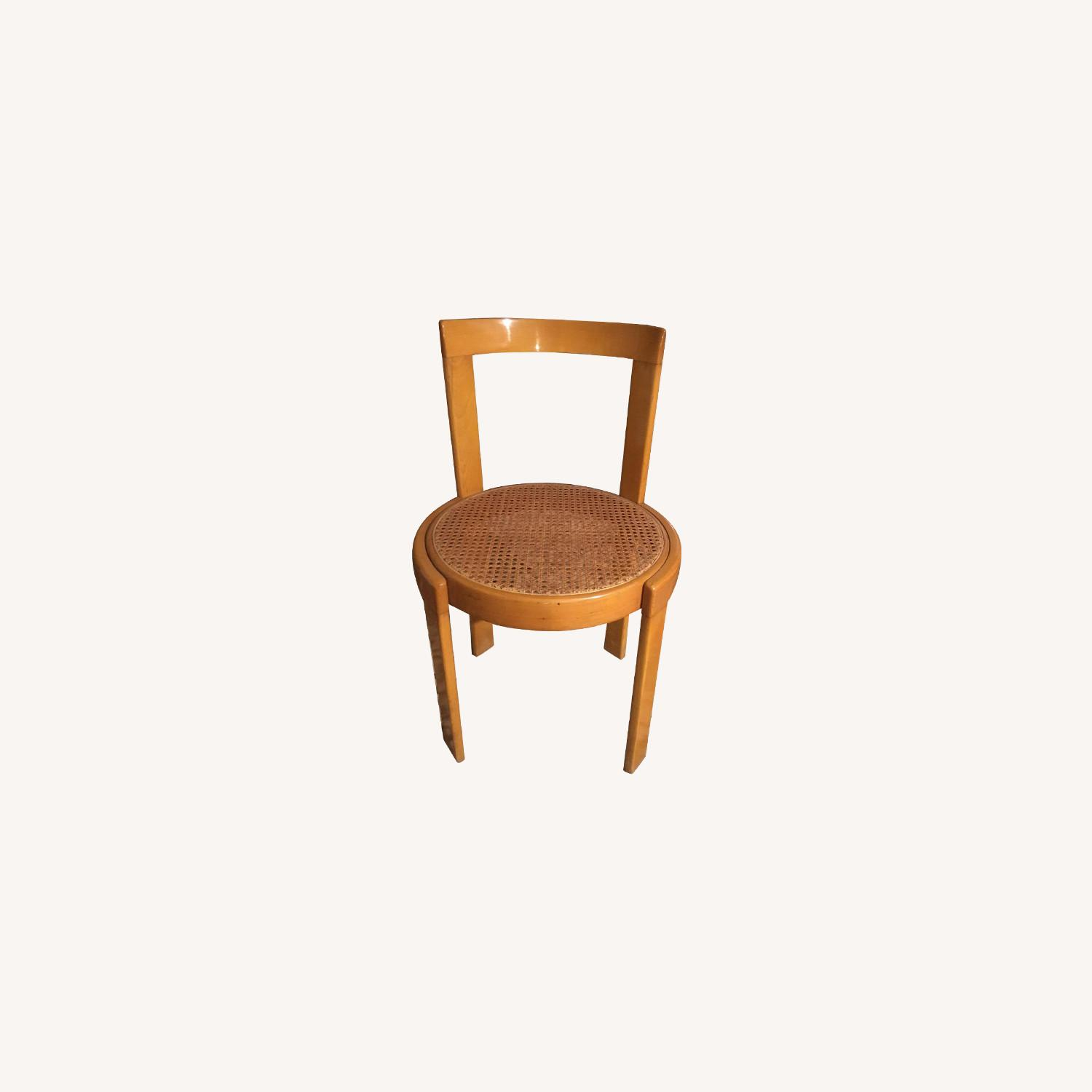 Thonet Italian Yellow Bent Wood Cane Seat Dining Chairs - image-0