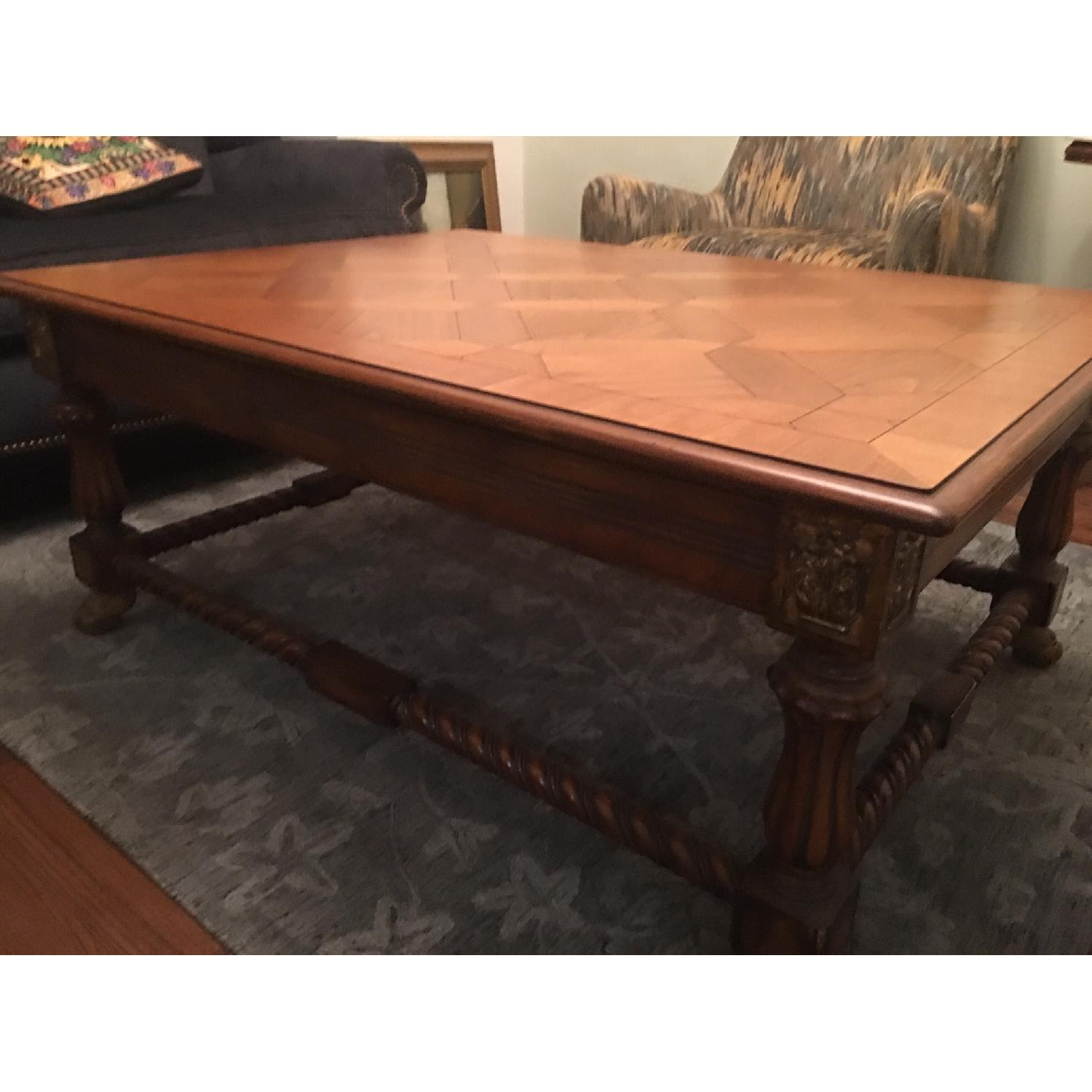Large Coffee Table w/ Inlaid Wood - image-1