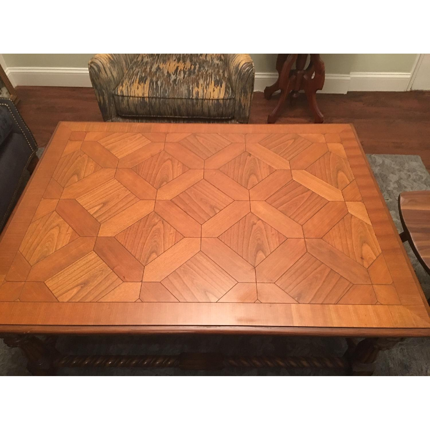 Large Coffee Table w/ Inlaid Wood - image-2