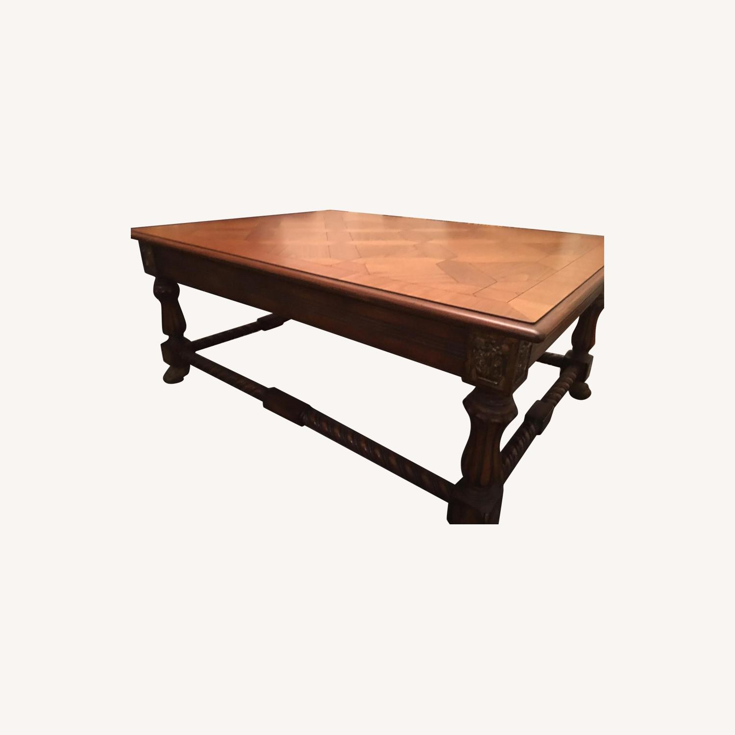 Large Coffee Table w/ Inlaid Wood - image-0