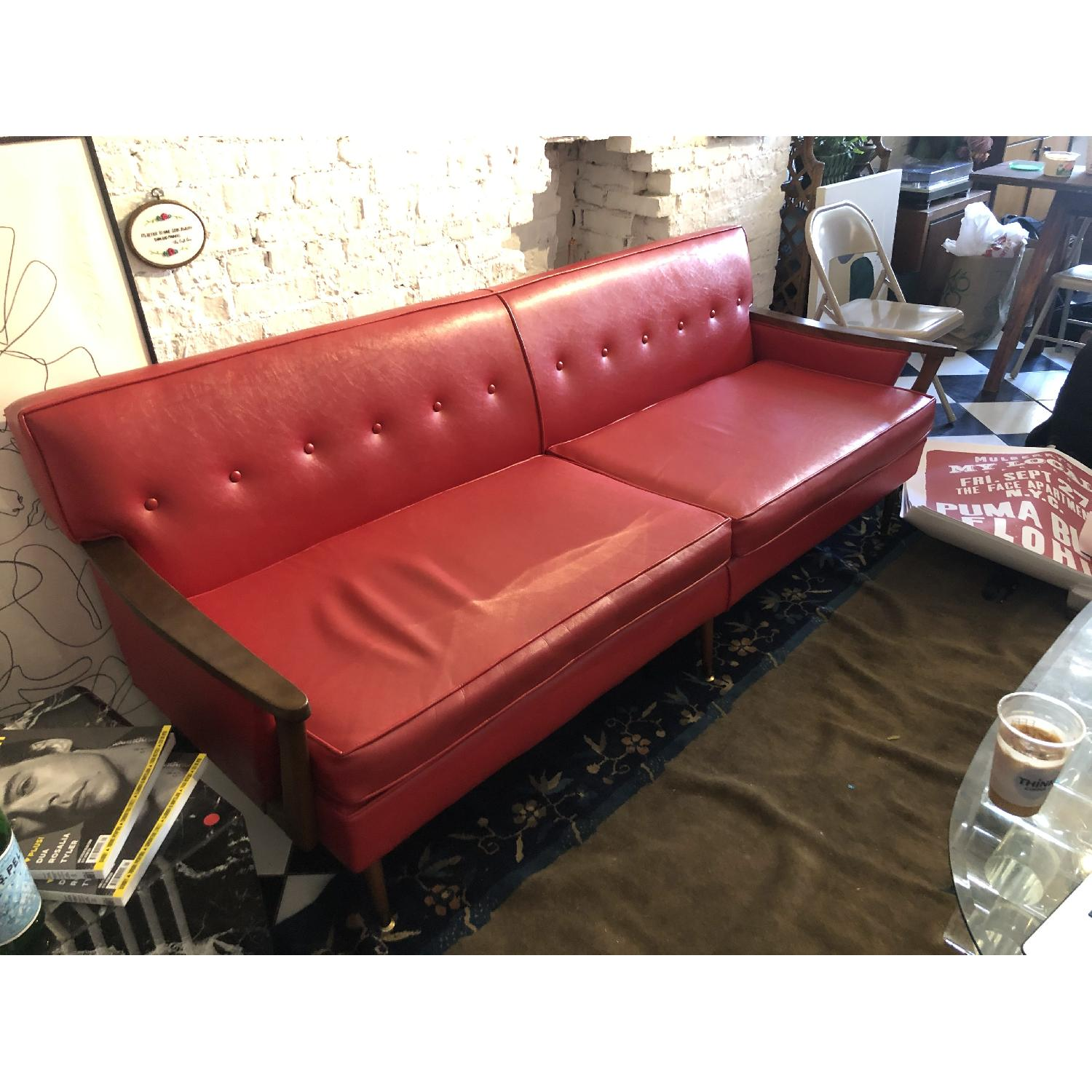 Vintage Red Leather Sofa - image-1