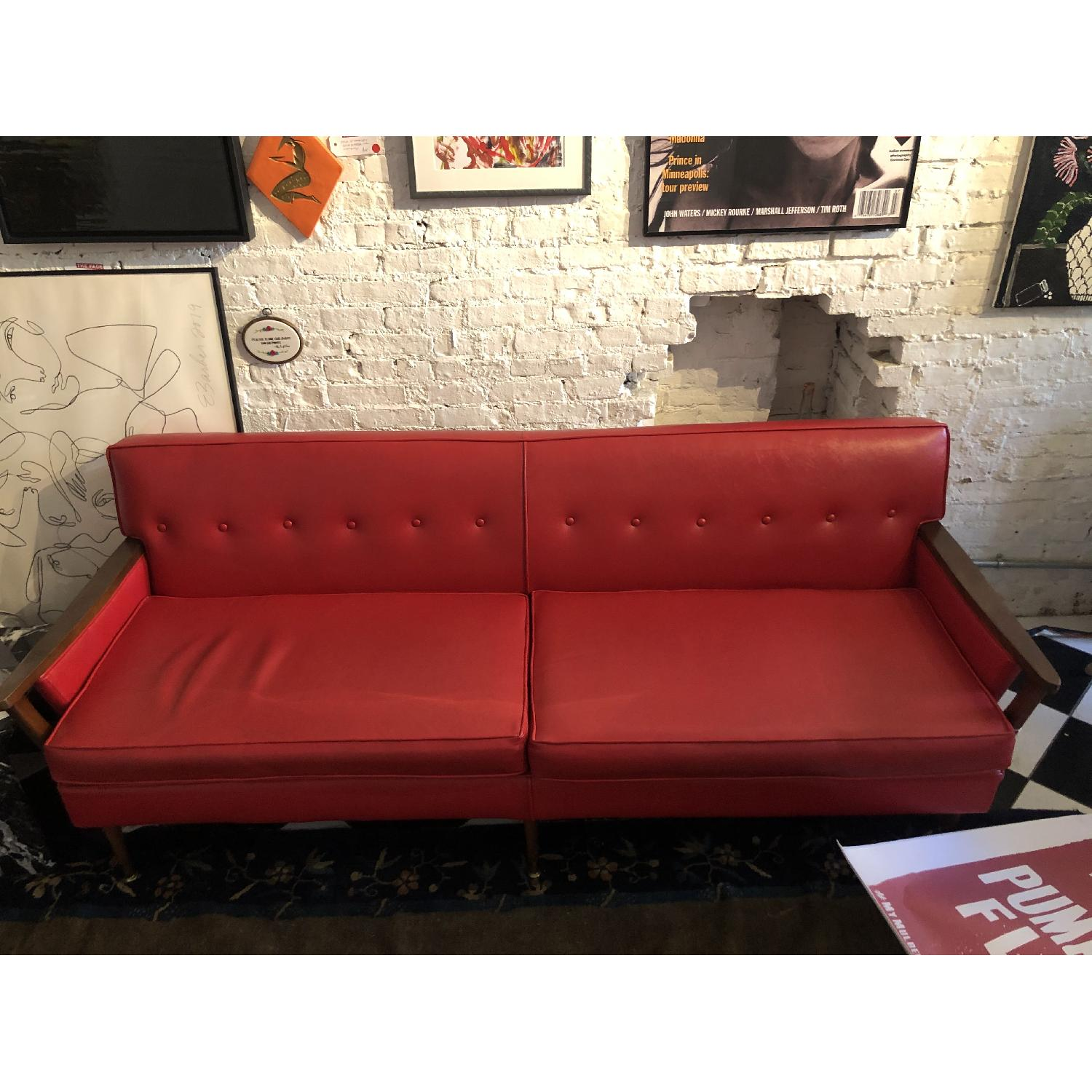 Vintage Red Leather Sofa - image-2