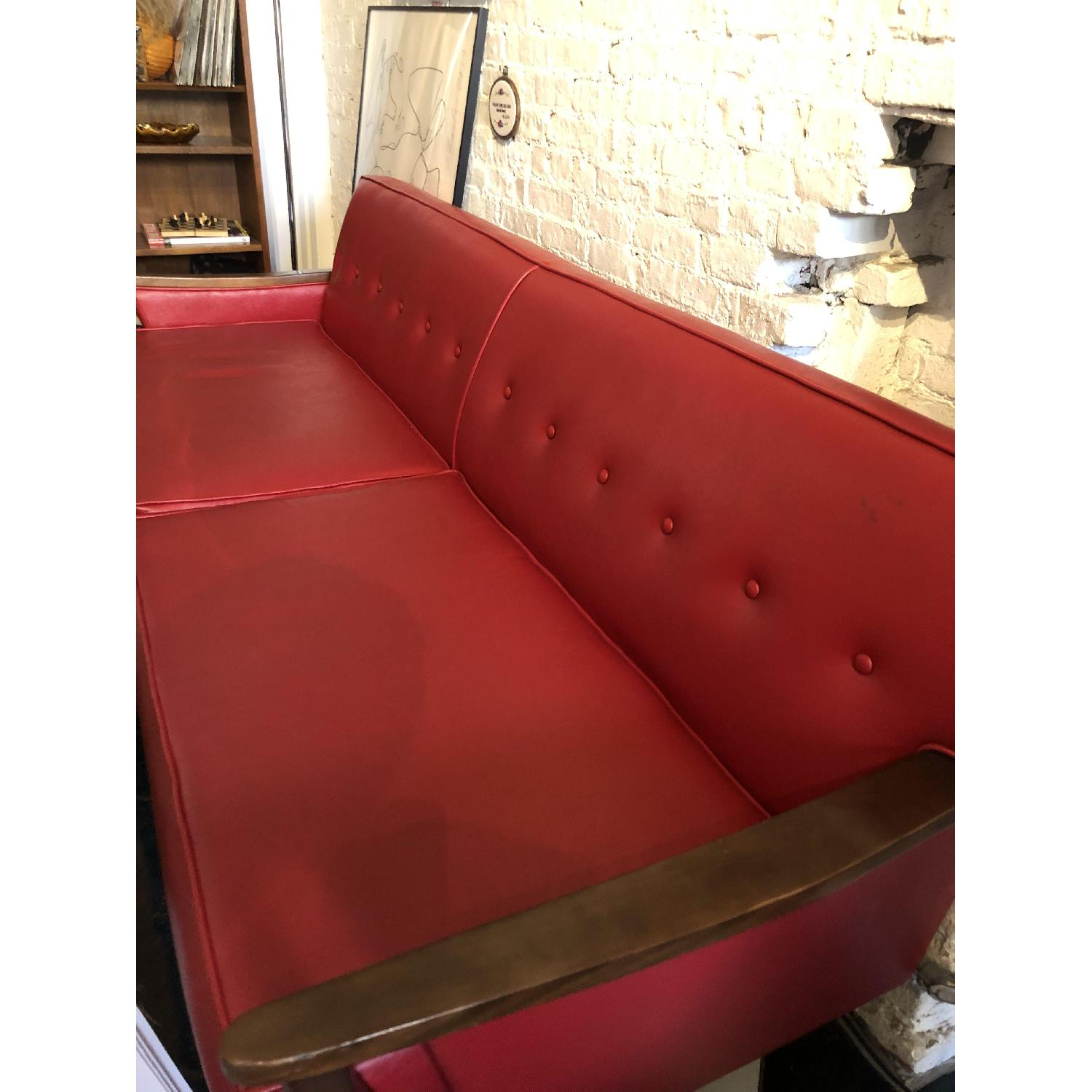 Vintage Red Leather Sofa - image-4