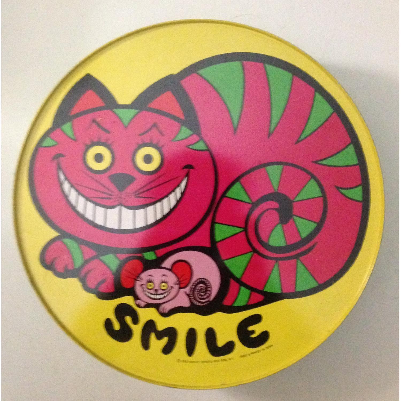 Vtg Dan-Dee Imports Cheshire Cat Huge Round Tin Bank 1969 - image-1