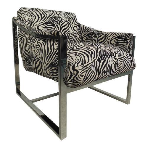 Milo Baughman Vintage Zebra Print Side Chair
