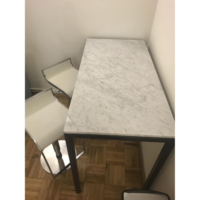 West Elm Faux Marble Bar Table - image-1