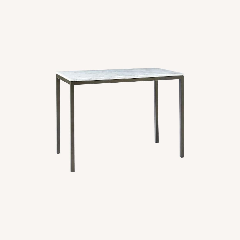 West Elm Faux Marble Bar Table - image-0
