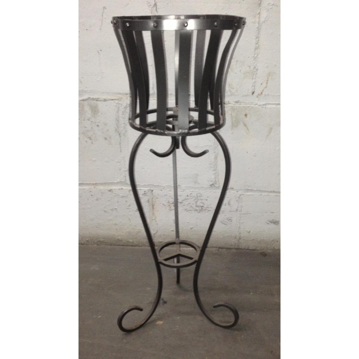 Vintage Wrought Iron Rustic Plant Stand w/ Scroll Legs - image-0