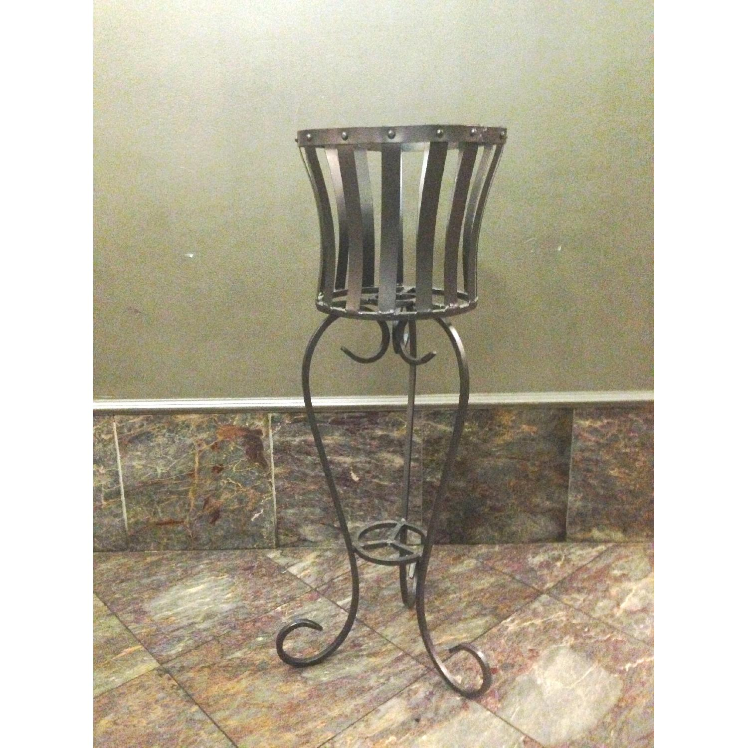 Vintage Wrought Iron Rustic Plant Stand w/ Scroll Legs - image-1