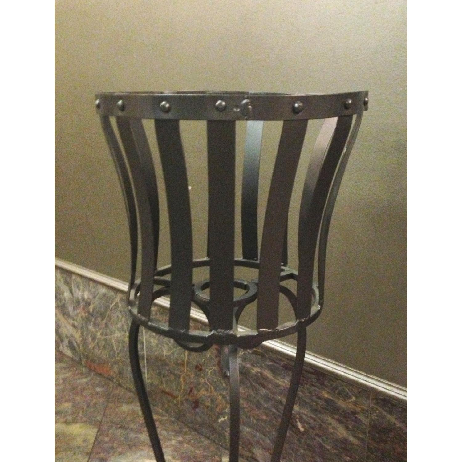 Vintage Wrought Iron Rustic Plant Stand w/ Scroll Legs - image-2