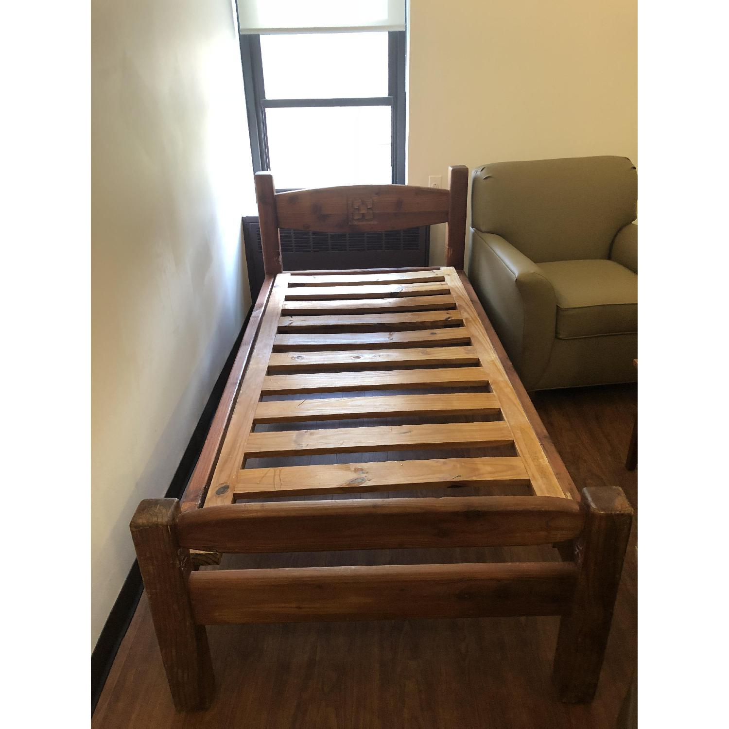 Hand Carved Solid Wood Twin Bed - image-2