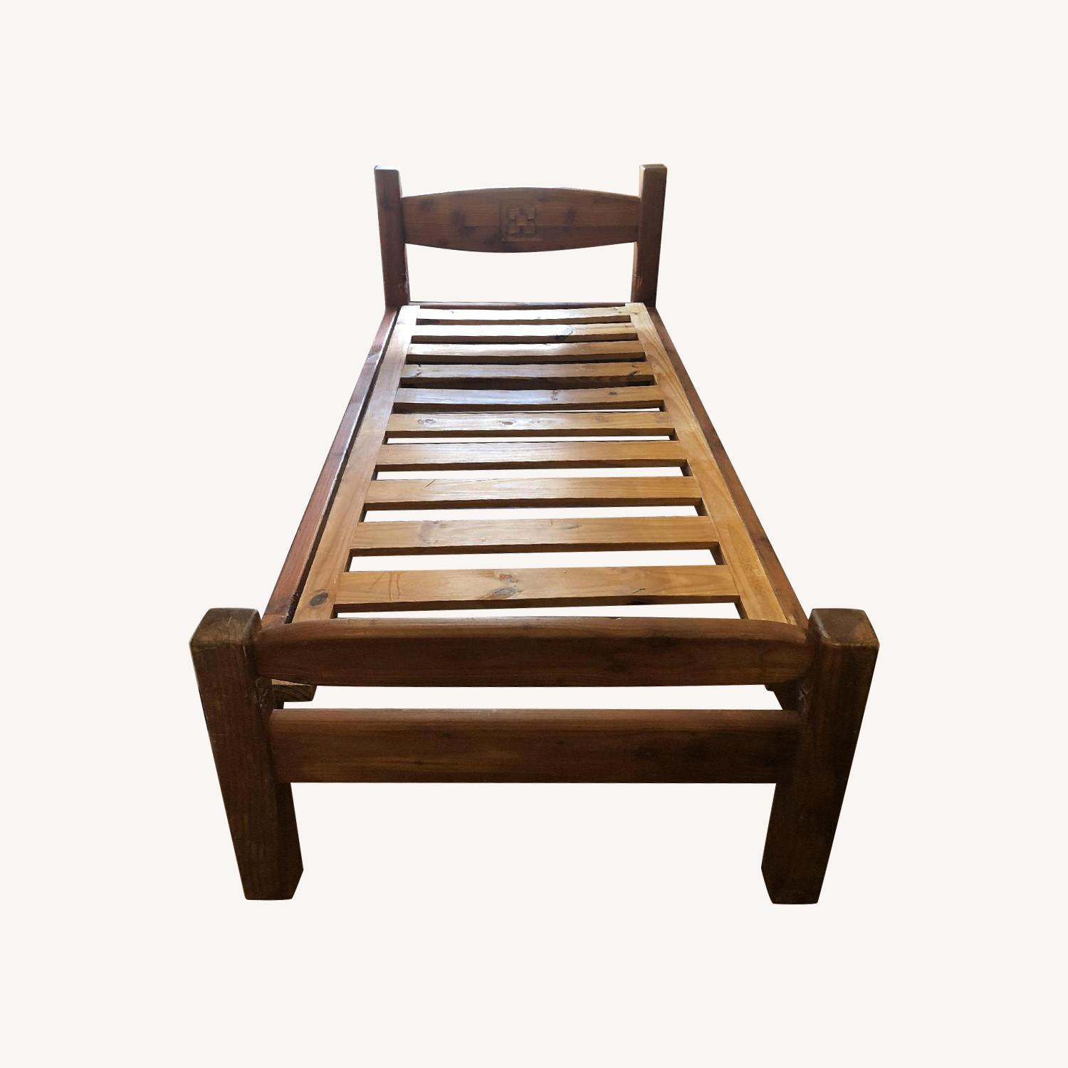 Hand Carved Solid Wood Twin Bed - image-0