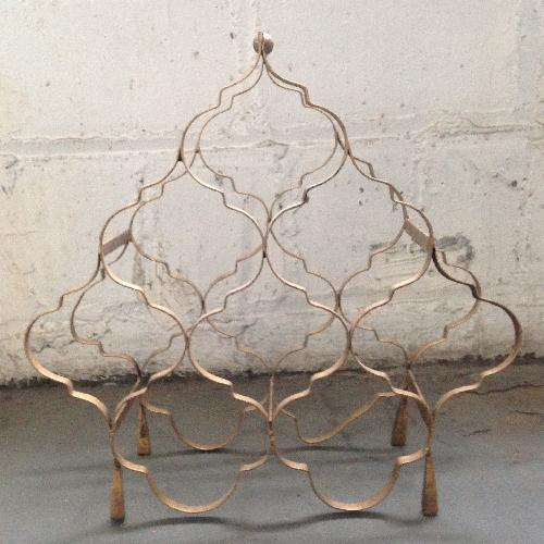 Used Vintage Copper-Finish 8 Bottle Wrought Iron Wine Rack for sale on AptDeco