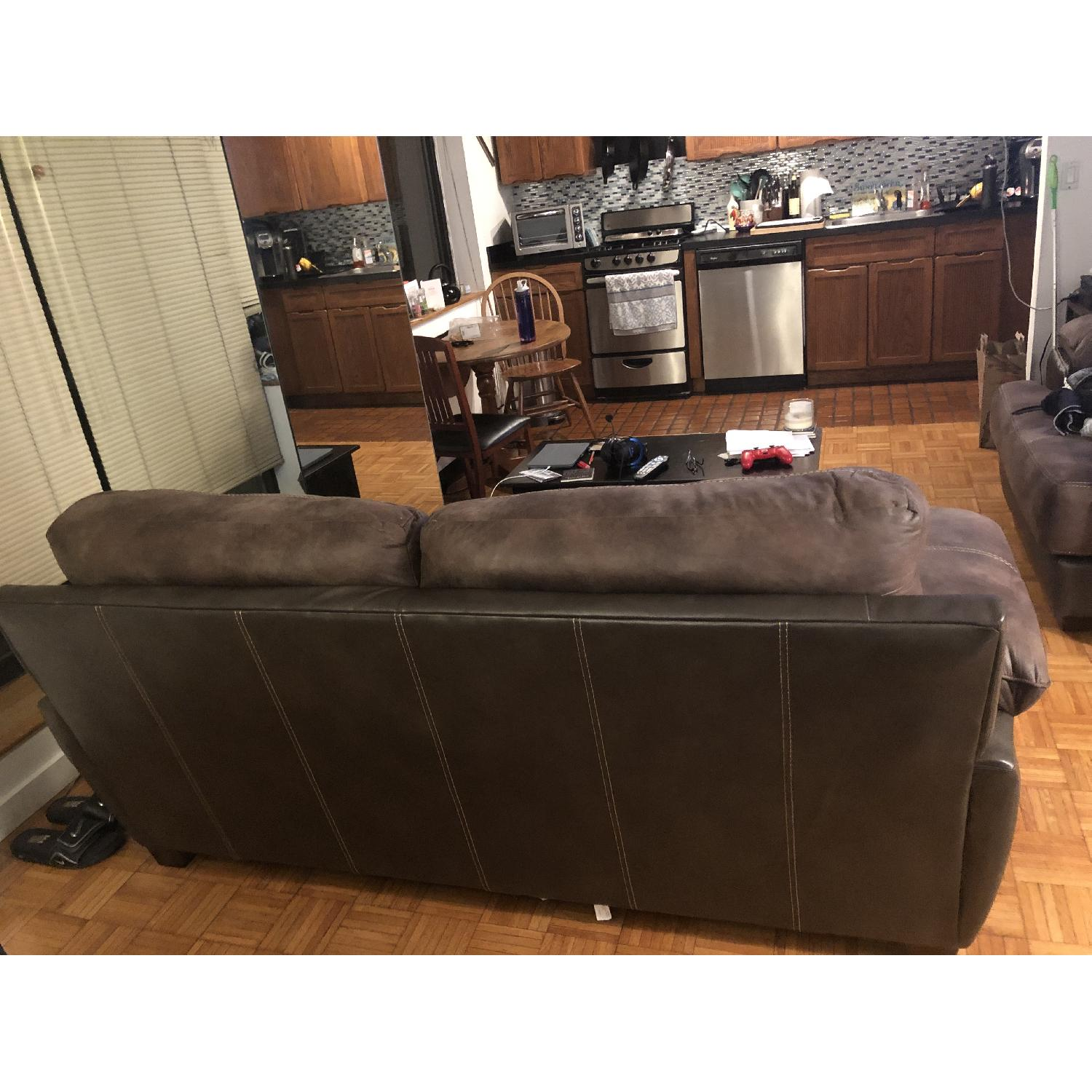 Bob's Bob-o-pedic Suede/Leather Sofa - image-4