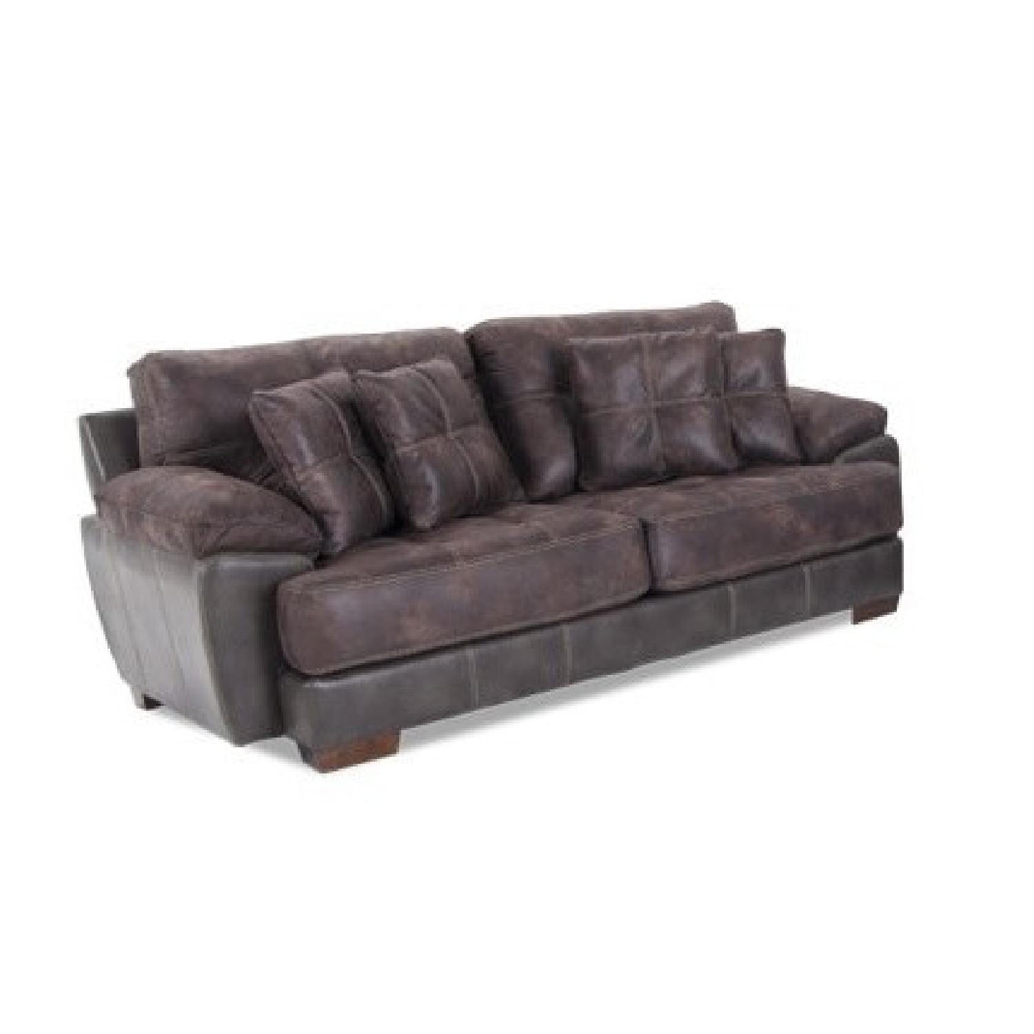 Bob's Bob-o-pedic Suede/Leather Sofa - image-0