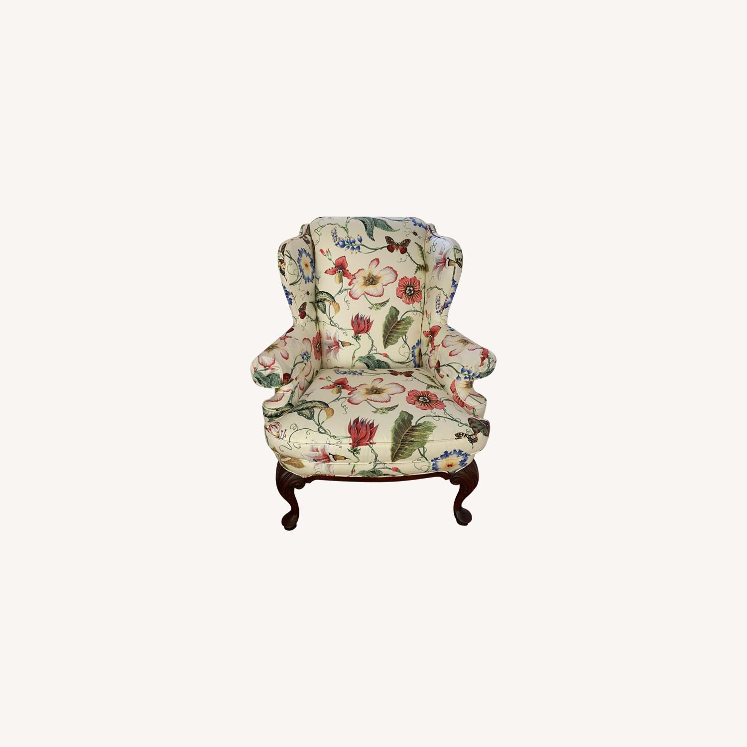Floral Wing Chair - image-0