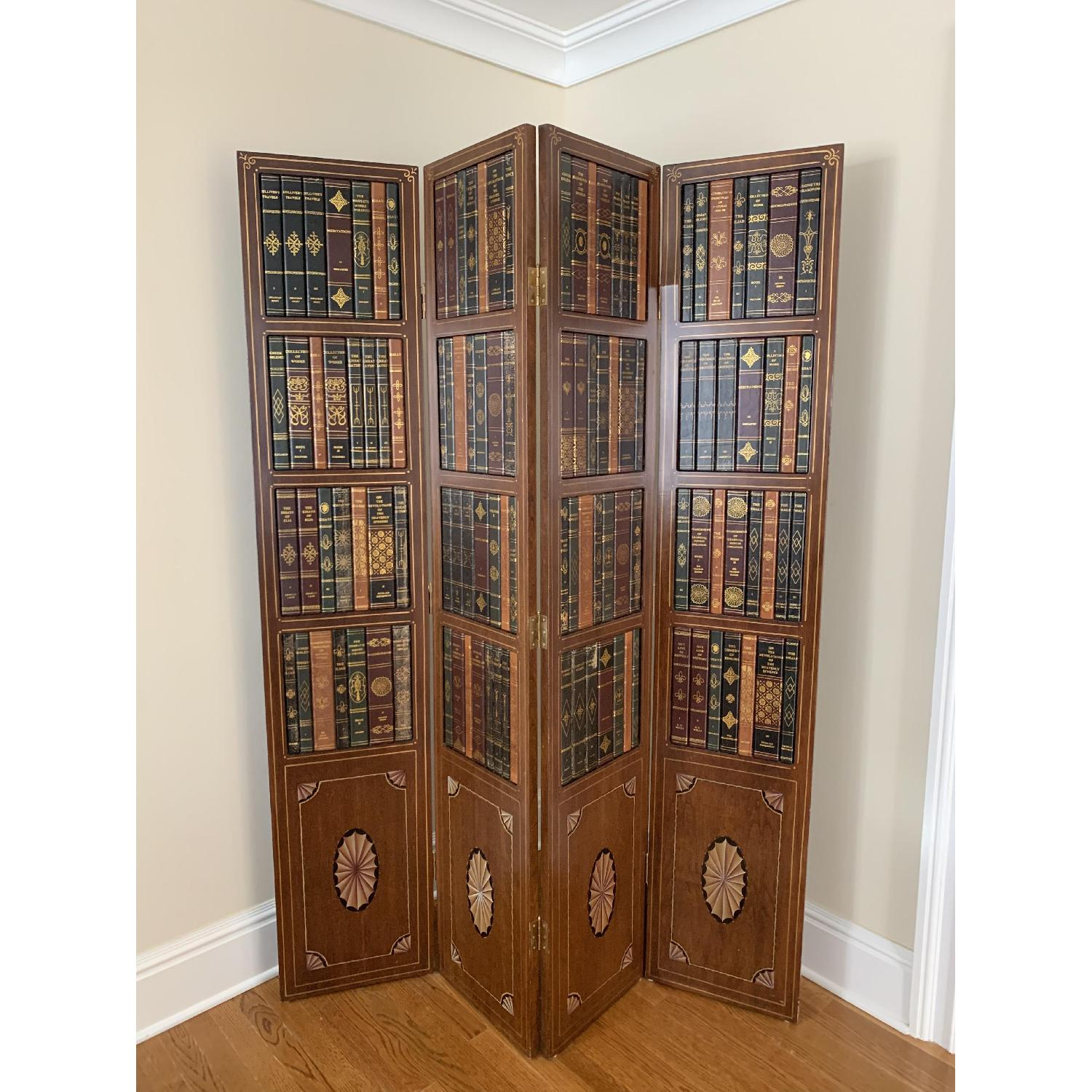 Maitland-Smith Tooled Leather Book Room Divider - image-1