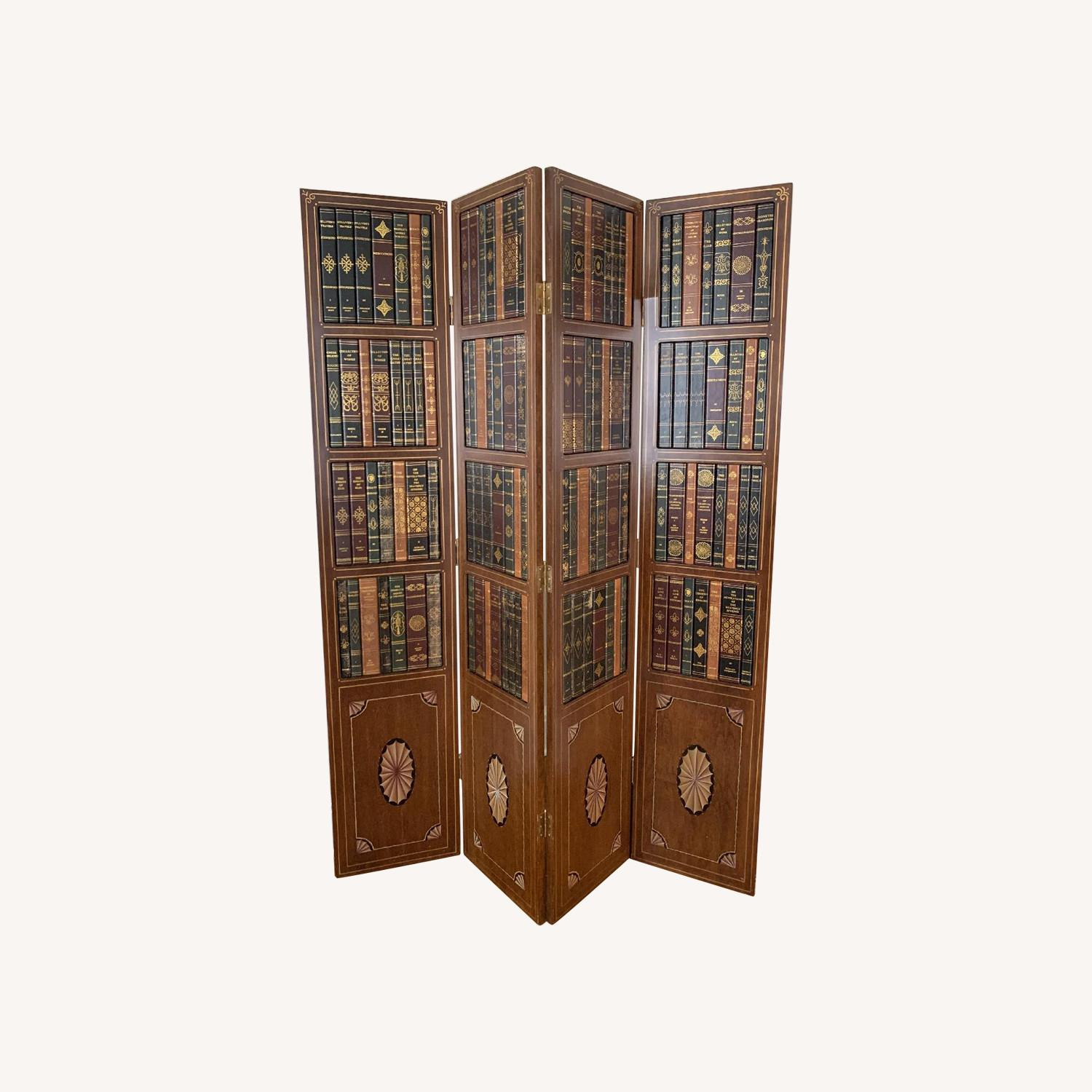 Maitland-Smith Tooled Leather Book Room Divider - image-0