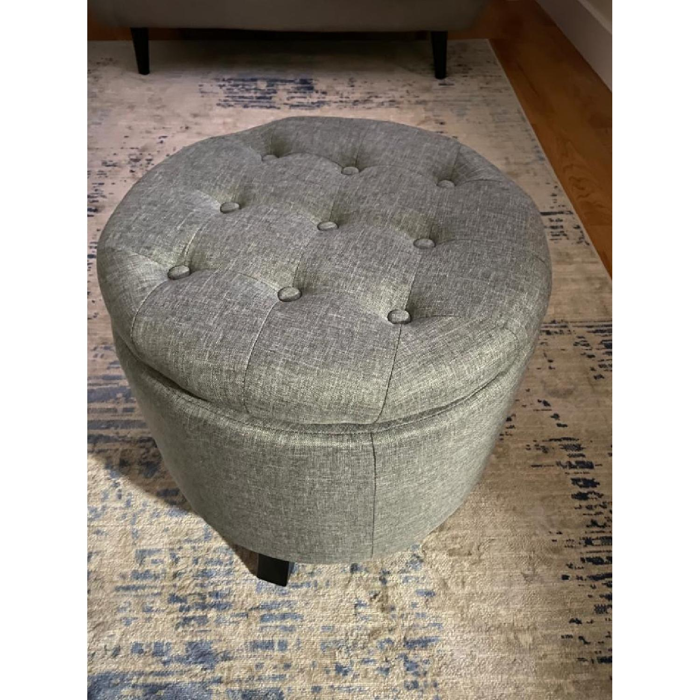 Round Storage Ottoman w/ Removable Lid - image-1