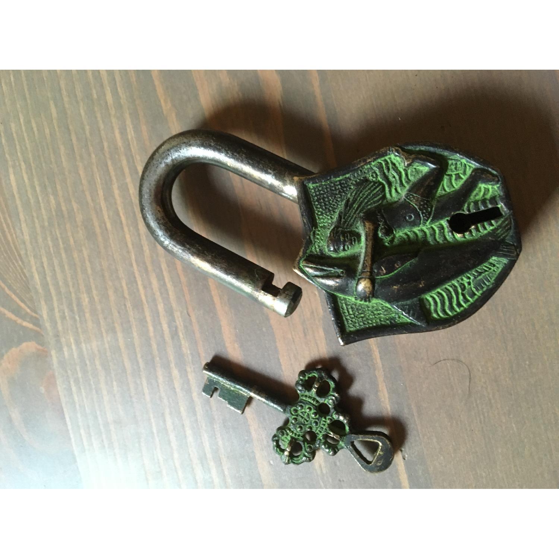 Vintage Domed Trunk w/ Engraved Brass Lock - image-5