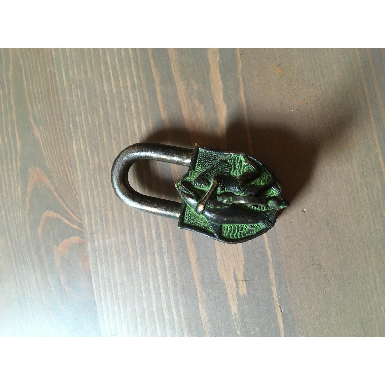 Vintage Domed Trunk w/ Engraved Brass Lock - image-3