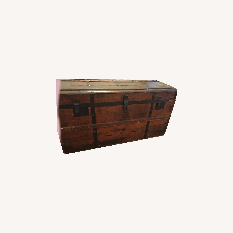 Vintage Domed Trunk w/ Engraved Brass Lock - image-0