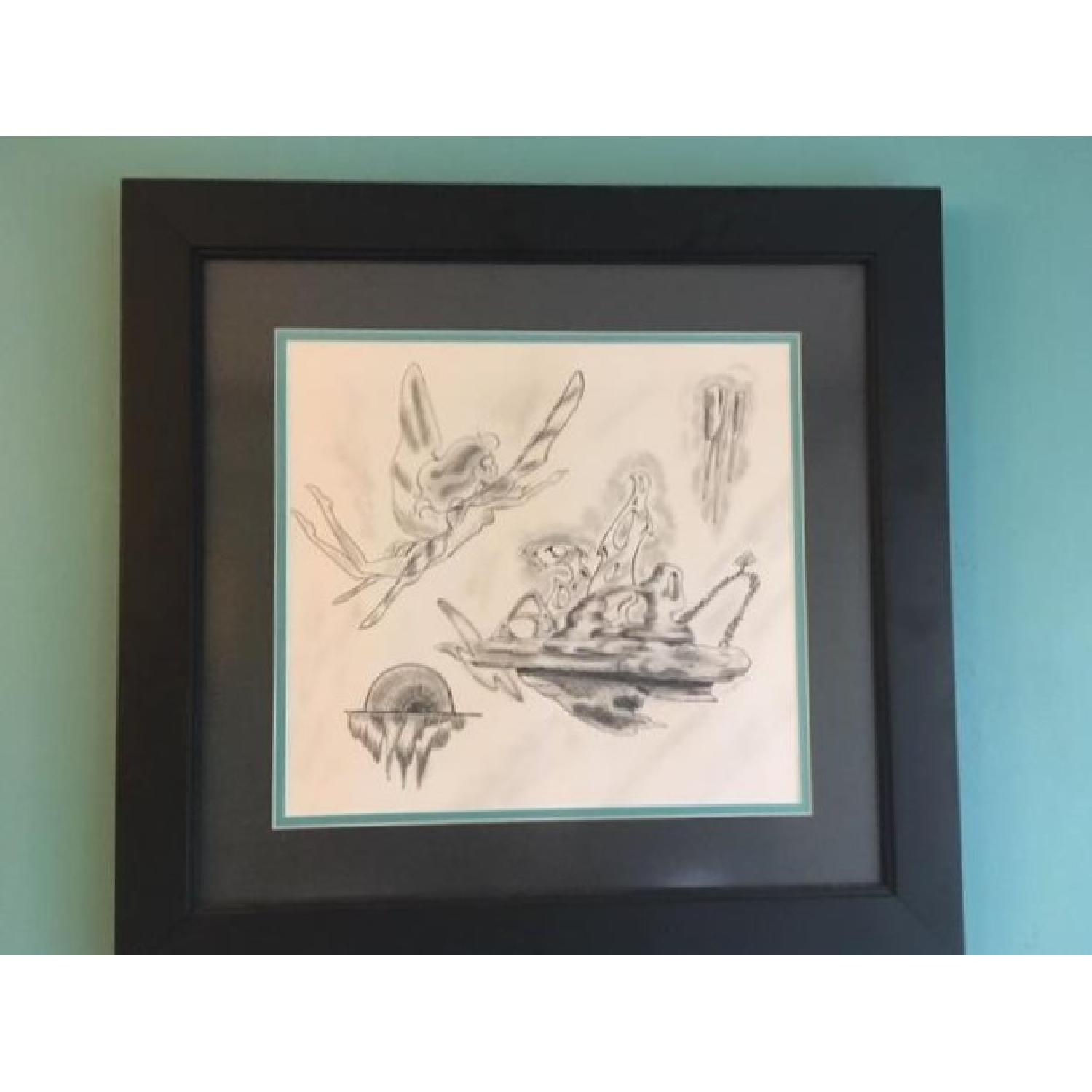 Framed Fairy Charcoal Print - image-1