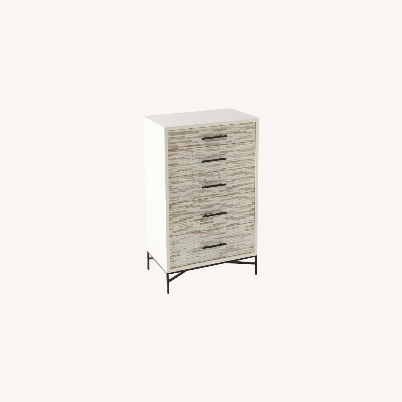 West Elm Wood Tiled 5-Drawer Dresser - image-0