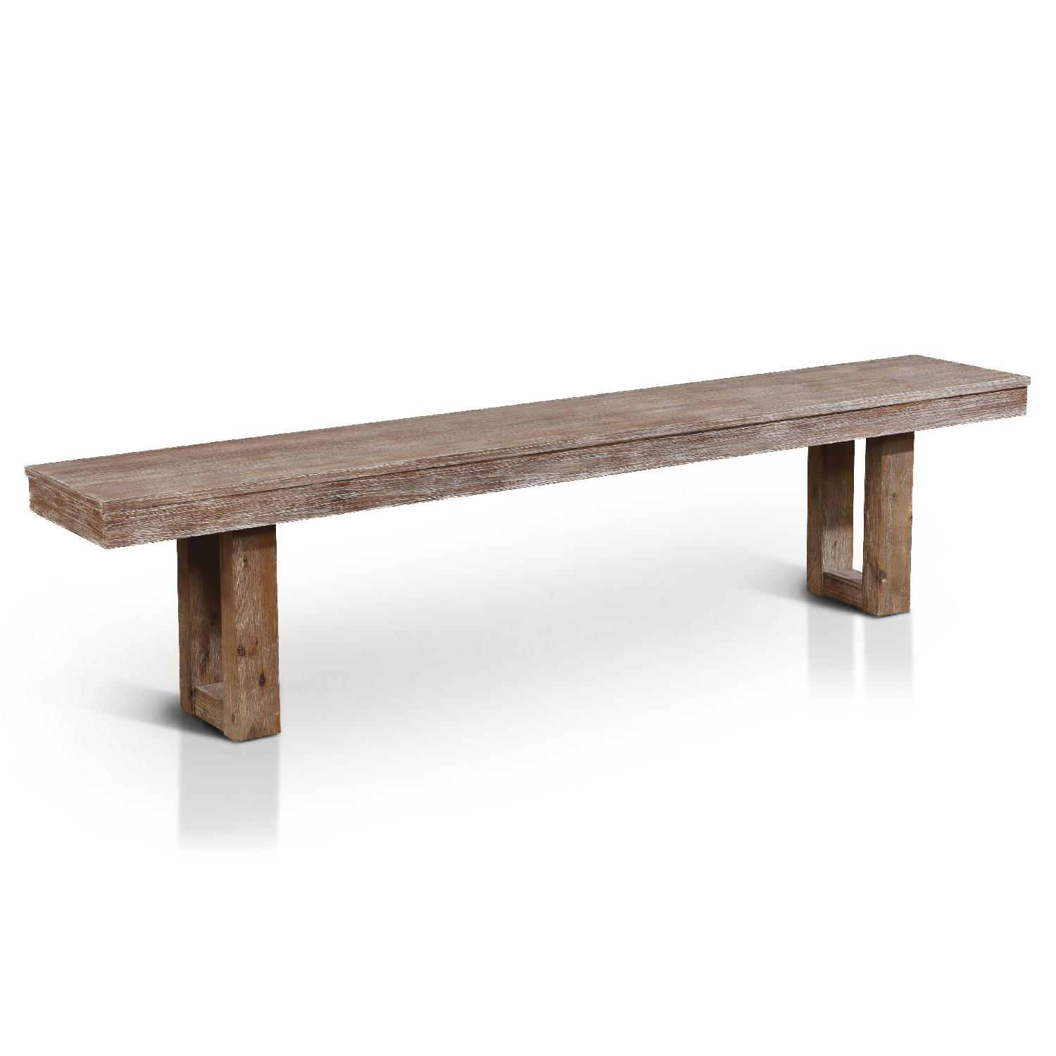 White Hand-Painted Rustic Dining Bench - image-0