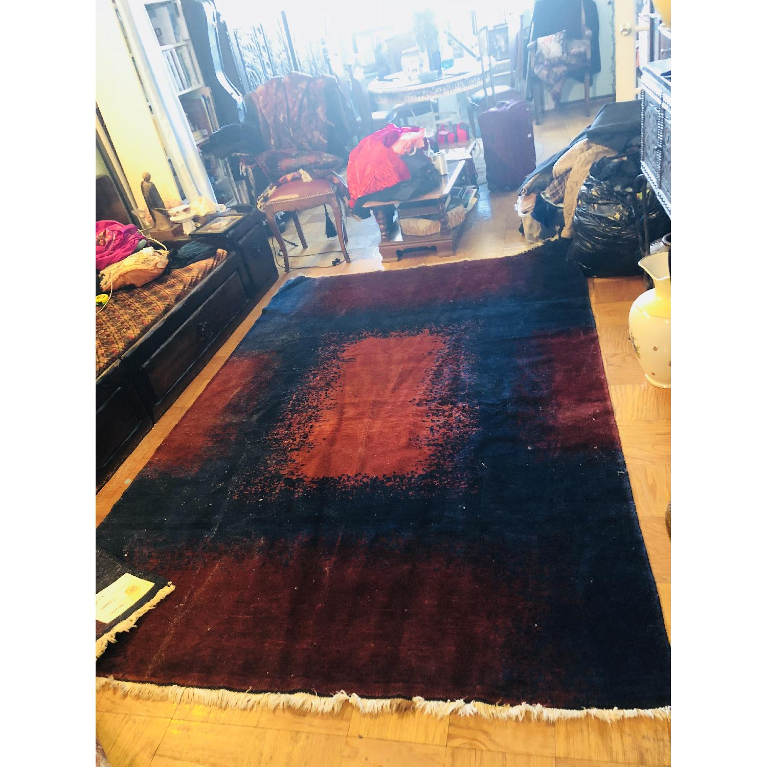 ABC Carpet and Home Modern Blue Area Rug w/ Red Patterns - image-1