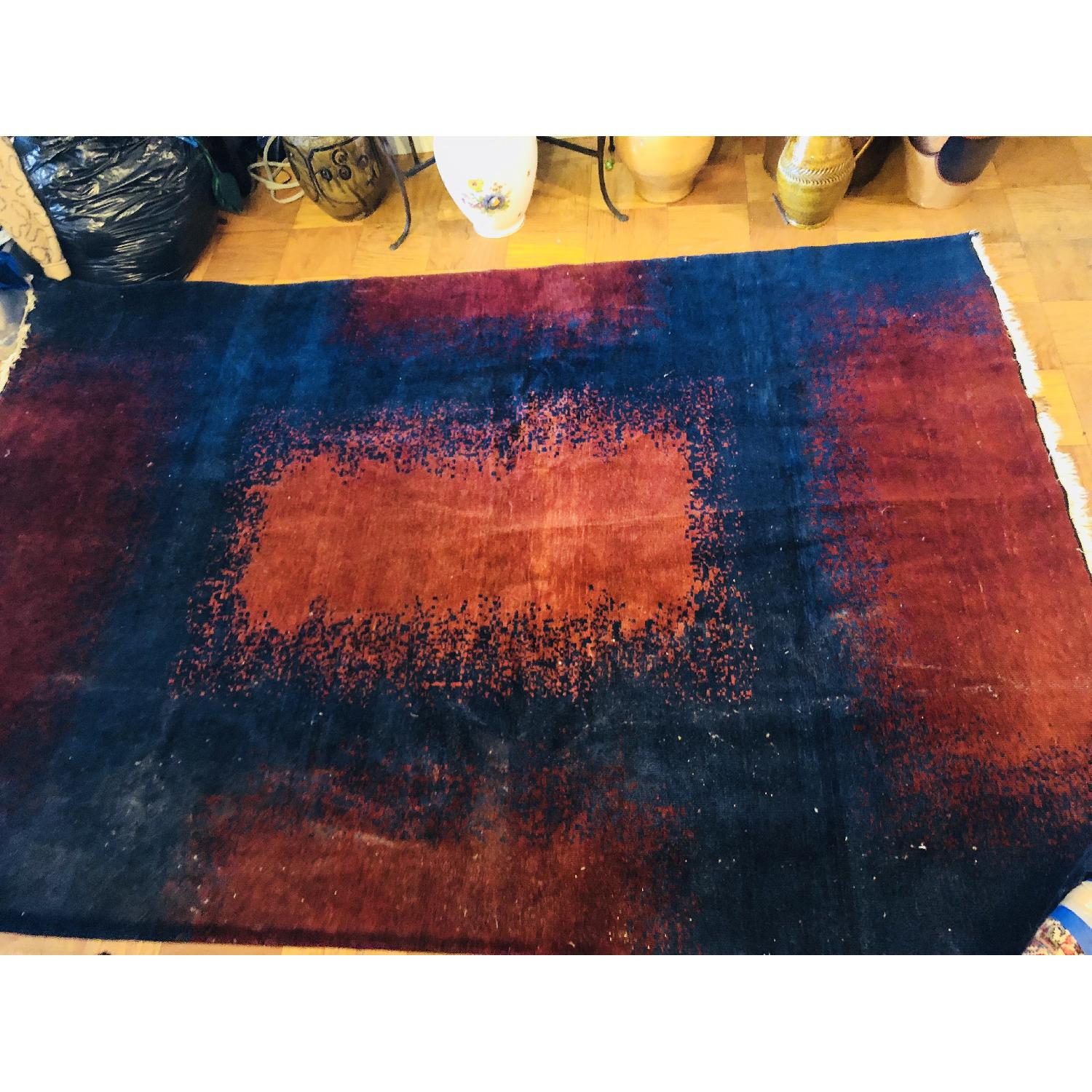 ABC Carpet and Home Modern Blue Area Rug w/ Red Patterns - image-5