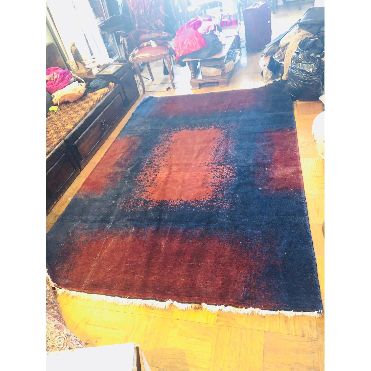 ABC Carpet and Home Modern Blue Area Rug w/ Red Patterns - image-3