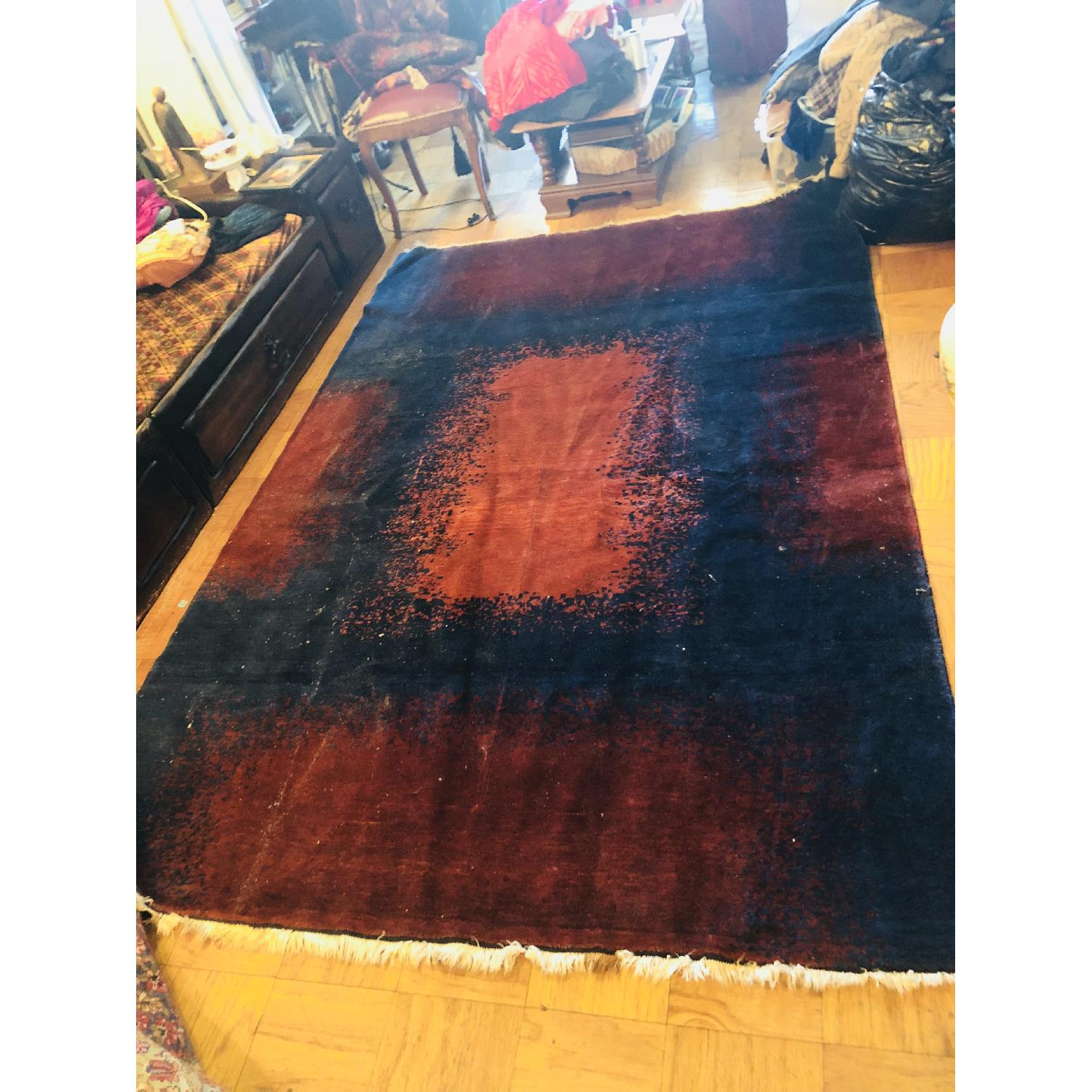 ABC Carpet and Home Modern Blue Area Rug w/ Red Patterns - image-2