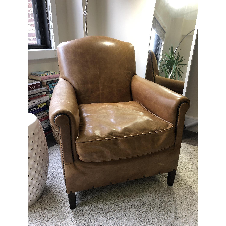 Restoration Hardware Camelback Leather Armchair - image-1