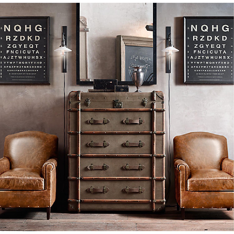Restoration Hardware Camelback Leather Armchair - image-5