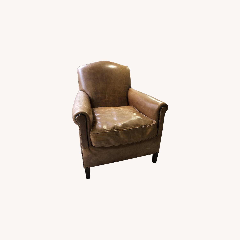 Restoration Hardware Camelback Leather Armchair - image-0