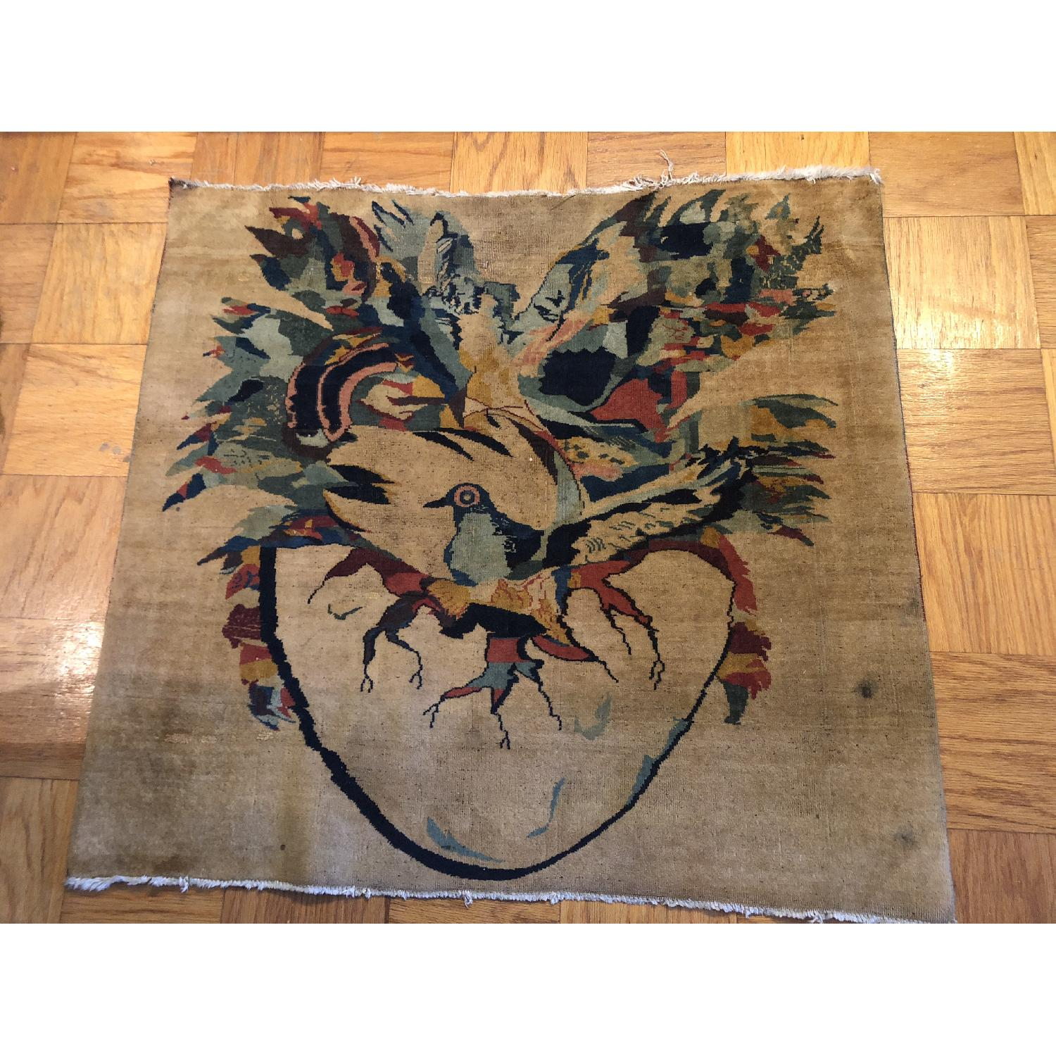 Pale Yellow Area Rug w/ Bird Pattern - image-1